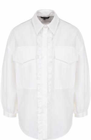Однотонная хлопковая блуза с укороченным рукавом Tara Jarmon. Цвет: белый