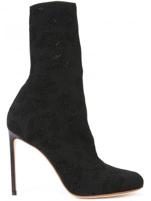 Perforated detail mid-calf boots Francesco Russo. Цвет: чёрный