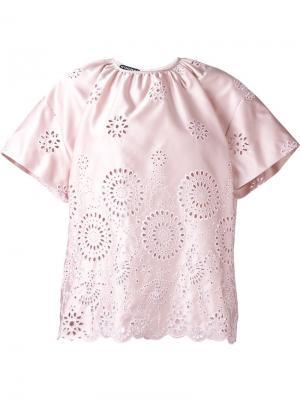 Кружевная блузка Rochas. Цвет: розовый и фиолетовый