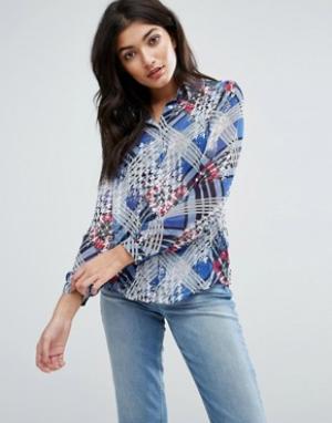 Jasmine Рубашка с клетчатой вставкой. Цвет: синий