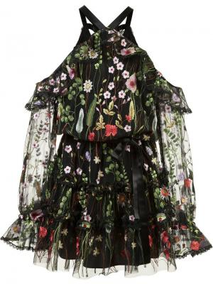 Платье с открытыми плечами и цветочным узором Alexis. Цвет: чёрный