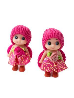 Резинки для волос 2 шт. в упаковке куклы темно-розовые JD.ZARZIS. Цвет: фуксия