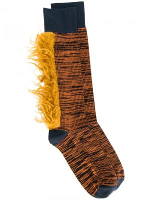 Ribbed fur patch socks Marni. Цвет: жёлтый и оранжевый