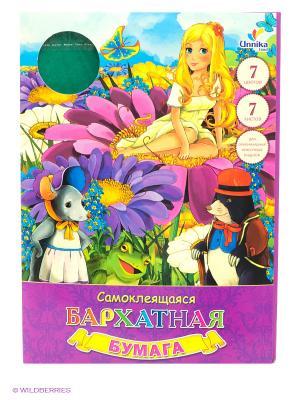 Набор цветной бумаги Дюймовочка в цветах (7 листов, 7 цветов) Канц-Эксмо. Цвет: фиолетовый
