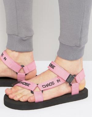 ASOS Розовые сандалии с надписью на ремешке. Цвет: розовый