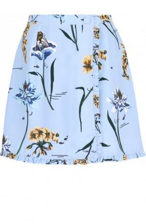 Мини-юбка из вискозы с цветочным принтом Markus Lupfer. Цвет: голубой