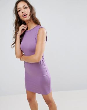ASOS Платье-майка мини с перекрученной проймой. Цвет: фиолетовый