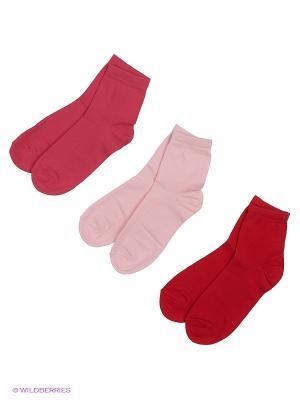Носки - 3 пары Гамма. Цвет: розовый, красный