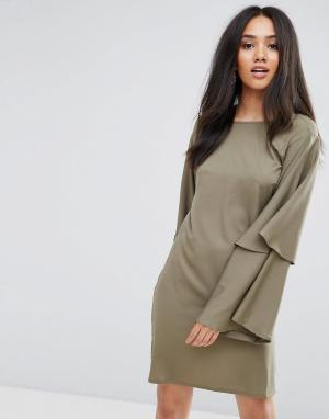 AX Paris Платье-туника цвета хаки с расклешенными рукавами. Цвет: зеленый