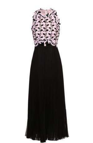 Платье-миди с плиссированной юбкой и цветочным лифом Giambattista Valli. Цвет: черно-белый