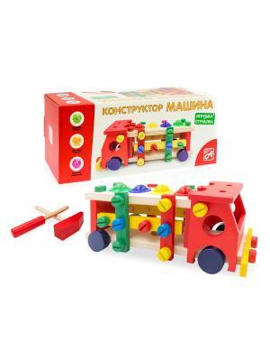 Стучалка-конструктор машинка ШАРИКИ. Развивающая игрушка АНДАНТЕ. Цвет: синий, зеленый, красный