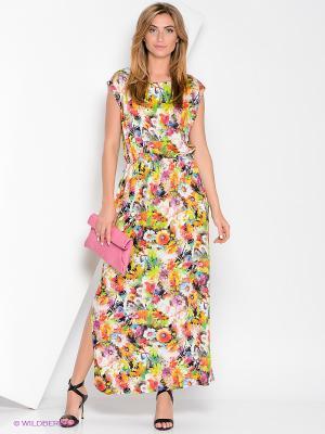 Платье AVELON. Цвет: зеленый, молочный, оранжевый
