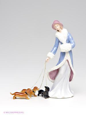 Статуэтка Дама с собаками Pavone. Цвет: кремовый, синий, коричневый