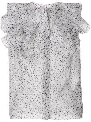 Полупрозрачная блузка с принтом Maticevski. Цвет: белый