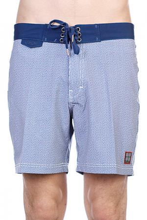Пляжные мужские шорты  Dice Raw Mid Black Out Blue Insight. Цвет: белый,синий