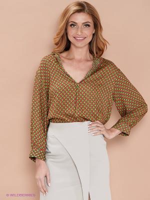 Блузка ELENA FEDEL. Цвет: зеленый, красный