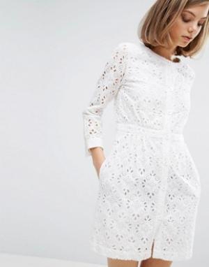 Vanessa Bruno Athé Платье с вышивкой и пуговицами спереди Athe. Цвет: белый