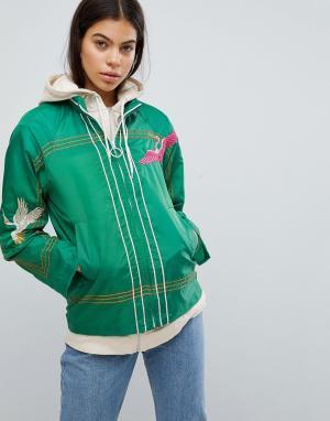 ASOS Куртка-дождевик с вышивкой. Цвет: зеленый