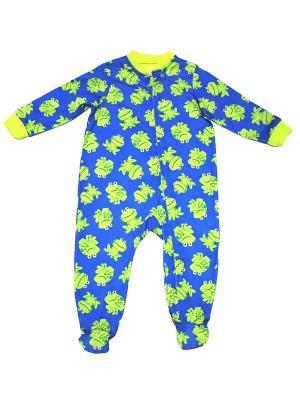 Комбинезон для сна Лягушата Little Me. Цвет: синий, зеленый