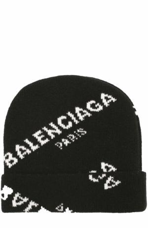 Вязаная шапка из шерсти с надписями Balenciaga. Цвет: черный