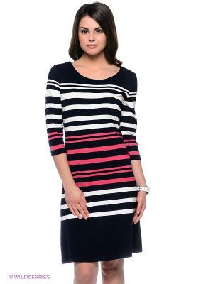 Платье Luhta. Цвет: темно-синий, розовый, белый
