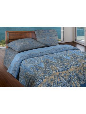 Комплект постельного белья 1,5 бязь Ornament Wenge. Цвет: серо-голубой