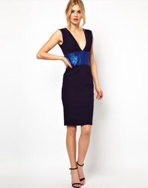 Платье-футляр с глубоким вырезом и отделкой пайетками  Hattie Tempest. Цвет: темно-синий/синий кобальт