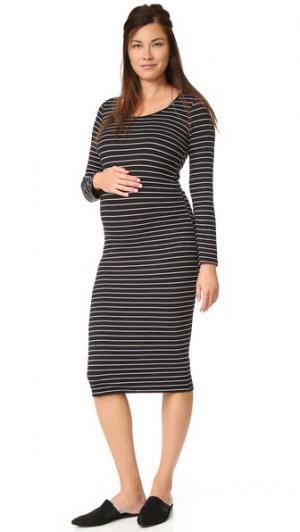 Платье для беременных в полоску MONROW. Цвет: черная полоска