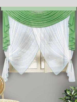 Комплект штор для кухни ZLATA KORUNKA. Цвет: зеленый, белый