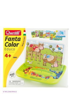 Мозаика Фантастические цвета с обучающими карточками. Quercetti. Цвет: салатовый