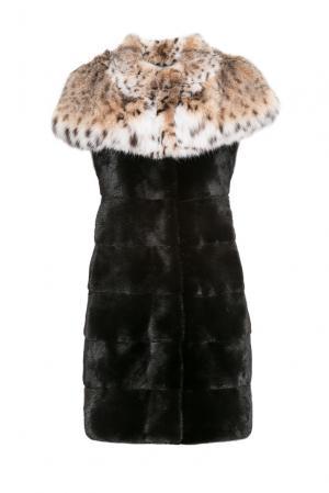 Норковый жилет с отделкой из меха рыси 154881 Pt Quality Furs. Цвет: черный