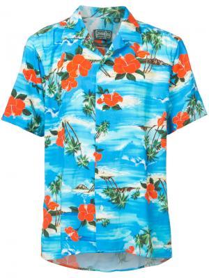 Рубашка с рисунком на тему океана Gitman Vintage. Цвет: синий