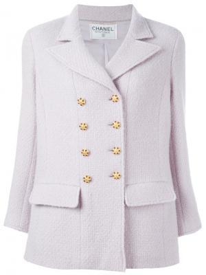 Укороченное пальто на пуговицах Chanel Vintage. Цвет: розовый и фиолетовый