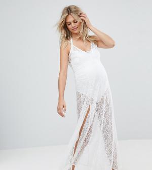 ASOS Maternity Кружевное пляжное платье макси. Цвет: белый
