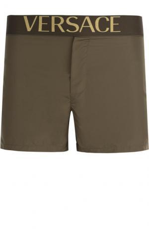 Плавки-шорты с широкой резинкой Versace. Цвет: хаки
