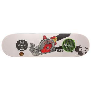 Дека для скейтборда  S6 Wallin Skill Impact Plus Saw 31.7 x 8.25 (21 см) Enjoi. Цвет: белый,мультиколор