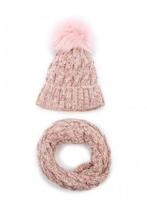 Комплект шапка и снуд Fete. Цвет: розовый
