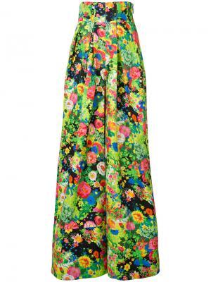 Расклешенные брюки с цветочным узором Rosie Assoulin. Цвет: зелёный