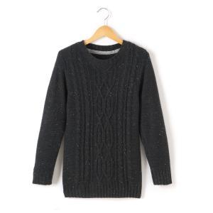 Пуловер из плотного трикотажа с круглым вырезом La Redoute Collections. Цвет: синий морской