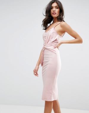 ASOS Облегающее платье миди с большим бантом спереди. Цвет: розовый