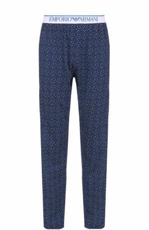 Хлопковые домашние брюки Emporio Armani. Цвет: синий