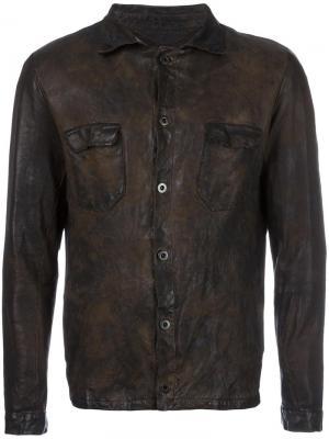 Кожаная куртка с потертой отделкой Salvatore Santoro. Цвет: коричневый