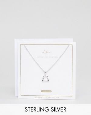 Johnny Loves Rosie Серебряное ожерелье со знаком зодиака весы. Цвет: серебряный