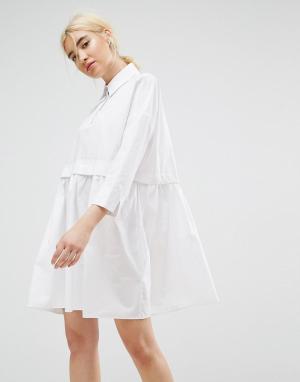 ASOS Свободное хлопковое платье-рубашка мини. Цвет: белый