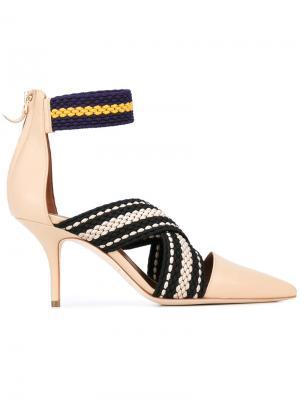 Туфли с контрастными лентами Malone Souliers. Цвет: телесный