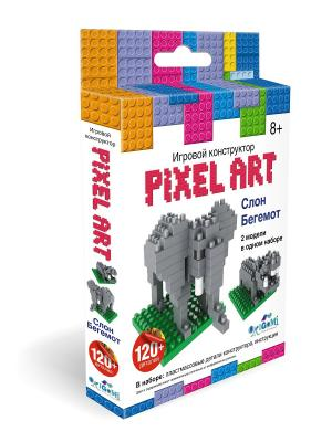 К. PixelArt Конструктор 3D-пиксели 2 в 1 Слон - бегемот. Origami. Цвет: белый, желтый, красный