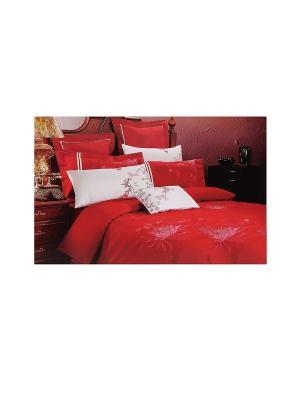 Комплект постельного белья  с покрывалом 7 предметов HAMRAN. Цвет: красный, белый