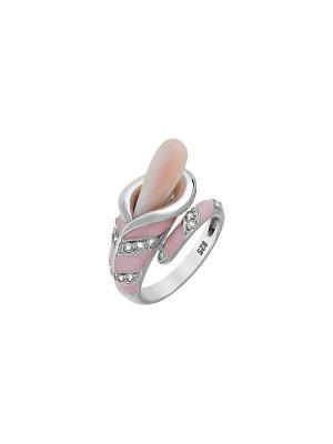 Кольцо с имитац. жемчуга и фианитом Магия Золота. Цвет: серебристый