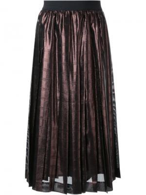 Плиссированная юбка с отделкой металлик Muveil. Цвет: коричневый