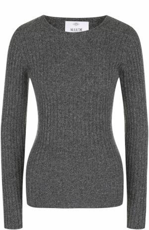 Кашемировый пуловер фактурной вязки Allude. Цвет: серый